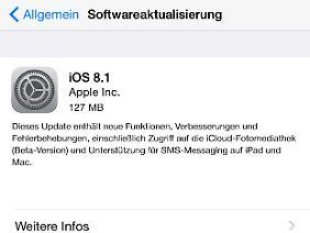 iOS 8.1 selbst ist nicht groß, benötigt aber viel Platz für eine OTA-Installation.