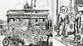 Schon im noch quadratischen und schwarz-weißen ersten Band spielt die Stadt eine Hauptrolle.