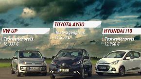 Wendig, umweltfreundlich, günstig: Aygo, Up, i10: Drei Kleinwagen im Test
