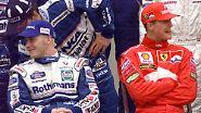 In seinem zweiten Ferrari-Jahr war Schumacher dem Titel schon ganz nahe. Mit einem Punkt Vorsprung auf Jacques Villeneuve im Williams reiste er zum Finale nach Spanien.