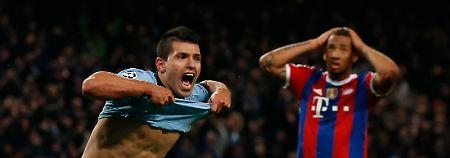 Siegtreffer kurz vor Schluss: Sergio Agüero jubelt, Jerome Boateng fasst sich an den Kopf.