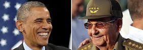 Reden offiziell miteinander: Obama und Castro.