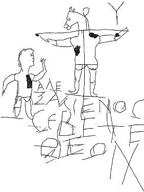 """Ein Graffito aus dem 2. oder 3. Jahrhundert - frühe Christentumssatire. """"Alexamenos betet seinen Gott an"""", steht da bei einer Abbildung eines Mannes, der einen gekreuzigten Esel anhimmelt."""