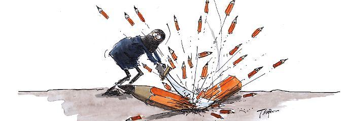 """Diese Karikatur veröffentlichte Thomas Plaßmann am Tag nach dem Anschlag auf """"Charlie Hebdo""""."""