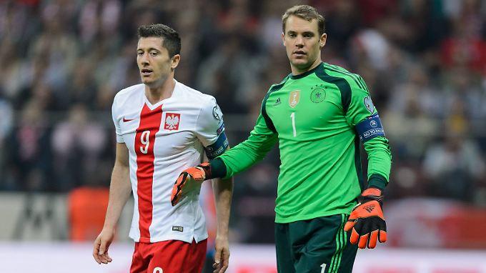 Nur drei Punkte vom Kollegen: Robert Lewandowski und Manuel Neuer.