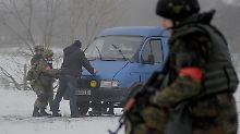 An einem Kontrollpunkt der ukrainischen Armee in der Nähe von Luhansk.