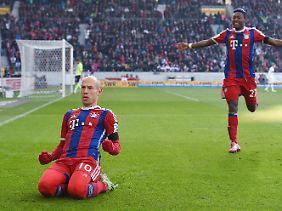 Arjen Robben leitete den Bayern-Sieg in Stuttgart mit einem Volley-Traumtor ein.