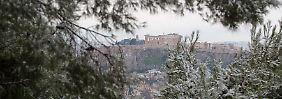 Schnee in Athen.