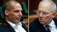 Varoufakis (l.) hat bestenfalls vier Monate Zeit gewonnen. Schäuble (r.) sieht die Probleme noch lange nicht gelöst.