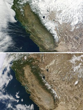 Bereits im Januar 2014 (u.) war im Vergleich zum Januar 2013 (o.) in der kalifornischen Sierrra Nevada ein deutlicher Rückgang der Vegetation festzustellen.