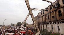 Textilfabrik in Karachi nach dem Brand (Archivbild).