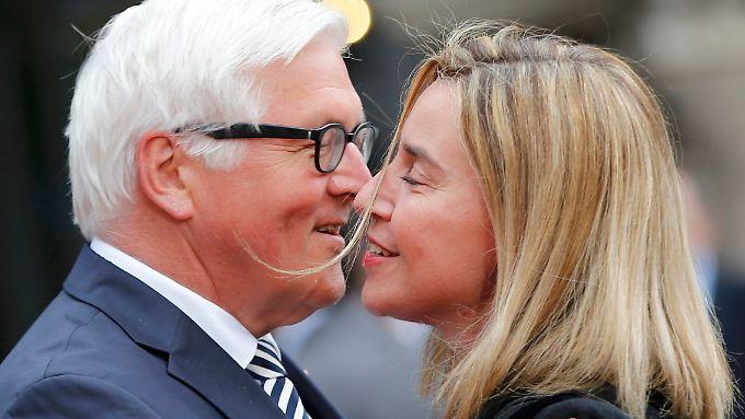 Steinmeier und Mogherini beim G7-Treffen der Außenminister in Lübeck.