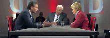 Heiner Bremer (Mitte) im Gespräch mit Renate Künast (rechts) und Stephan Mayer (links).
