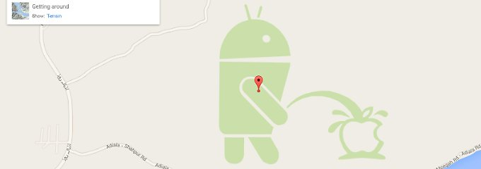 Albernes Easter Egg in Google Maps: Android pinkelt auf Apple-Logo