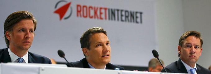 Sie benötigen noch ein bisschen mehr Kapital, um die Internetrakete endlich durchstarten zu lassen: Alexander Kudlich (v.l.), Oliver Samwer und Peter Kimpel.