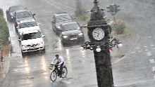 Eine Aufnahme vom 7. Juli 2015: Starkregen in Frankfurt am Main.