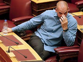 Yanis Varoufakis im griechischen Parlament.