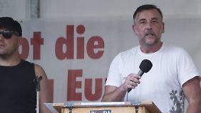 Lutz Bachmann bei seiner Rede in München
