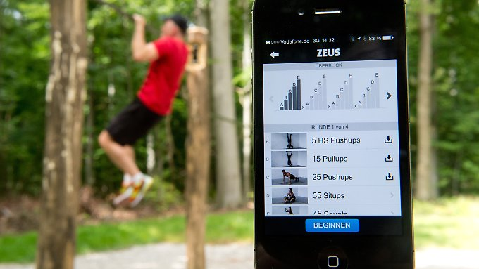 Fitness-App auf einem Smartphone.