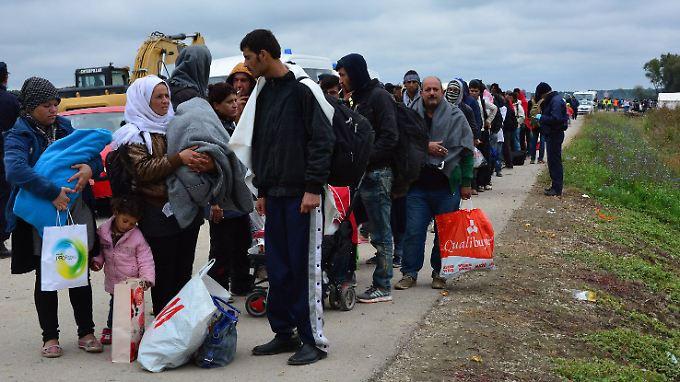 Flüchtlinge treffen aus Serbien kommend im kroatischen Strosinci ein.