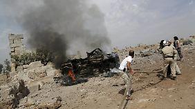 Nach einem russischen Luftangriff in der Region Idlib.