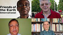 """Die Preisträger Nnimmo Bassey aus Nigeria, Erwin Kräutler aus Österreich,   Shrikrishna Upadhyay, Gründer von Sapporos, Ruchamara Marton Mitbegründern der geehrten Ärzteorganisation """"Medizinier für Menschenrechte"""" (PHRI)."""