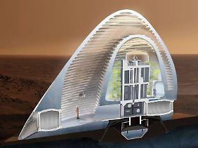 """Ein Querschnitt des Siegerentwurfs """"Ice House"""". Eine Doppel-Schale aus Eis soll Menschen und Mars voreinander Schützen."""