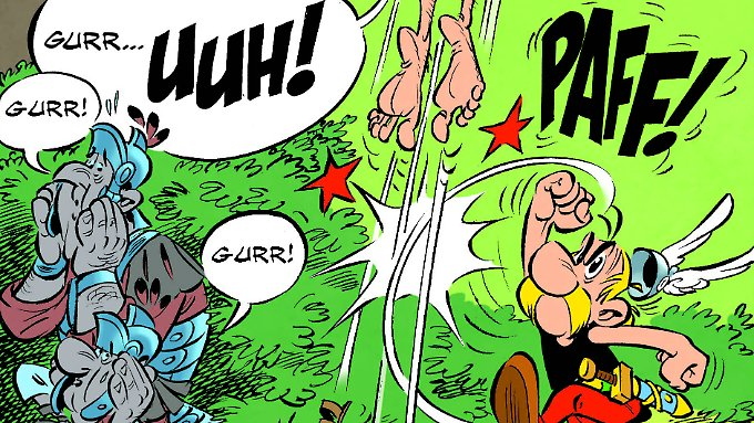 Asterix hat Zaubertrank getrunken - und schon geht's los.