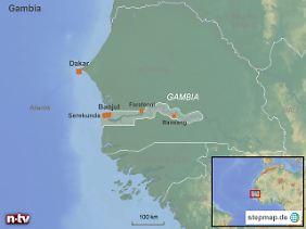 Republik Gambia: Der Staat in Westafrika wird vollständig vom Senegal umschlossen.