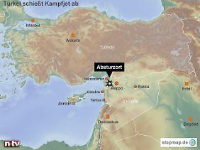 Abschuss über dem Grenzgebiet zwischen der türkischen Provinz Hatay und der syrischen Provinz Latakia.