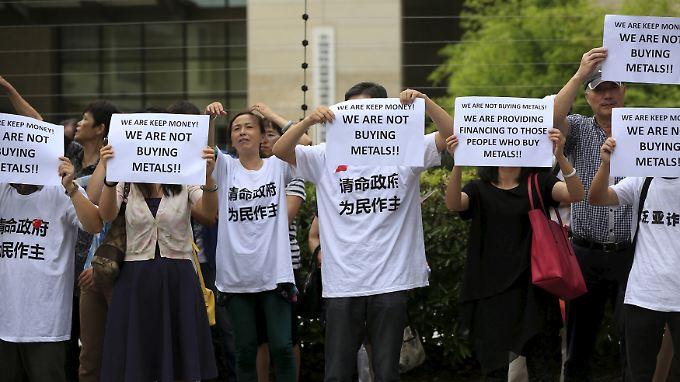 Im Sommer protestierten Anleger gegen Shan Jiuliang.