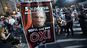 Beim Referendum im Sommer 2015 warb die Syriza-Partei bei den Griechen mit dem Konterfei von Schäuble für ein Nein.