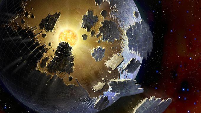 Künstlerische Darstellung einer Dyson-Sphäre, wie sie beim Stern KIC 846285 vermutet wurde.
