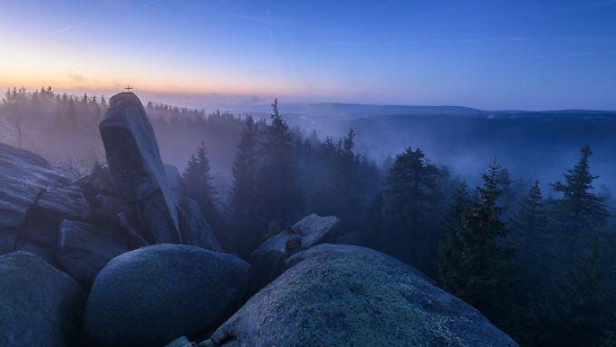Das Fichtelgebirge im Morgengrauen.