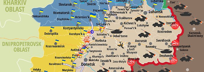 Das ukrainische Verteidigungsministerium veröffentlicht regelmäßig neue Karten über die Lage an der Front in der Ostukraine.