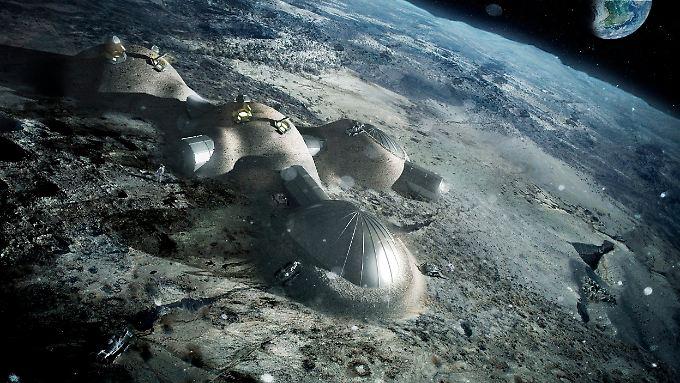 Entwurf der Esa: So oder ähnlich könnte eine bewohnte Mondstation aussehen.