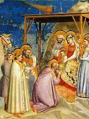 Giotto di Bondone: Anbetung der Könige, 1302. Der Stern von Bethlehem ist am oberen Bildrand als Komet dargestellt.