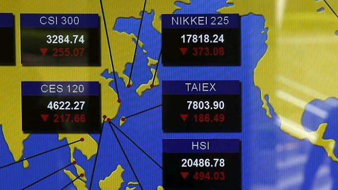 Die asiatischen Indizes am 7.1.2016 im Fenster der Hongkonger Börse.