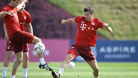 Robert Lewandowski im Trainingslager in Katar.