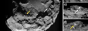 An zwei Stellen hat Rosetta Eis auf Tschuris Oberfläche gefunden.