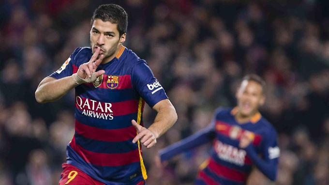 Luis Suarez traf drei Mal für Barcelona.