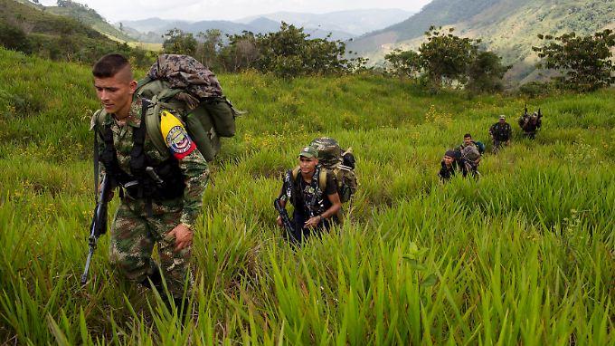 Kämpfer der Farc-Guerilla im Departamento Antioquia.