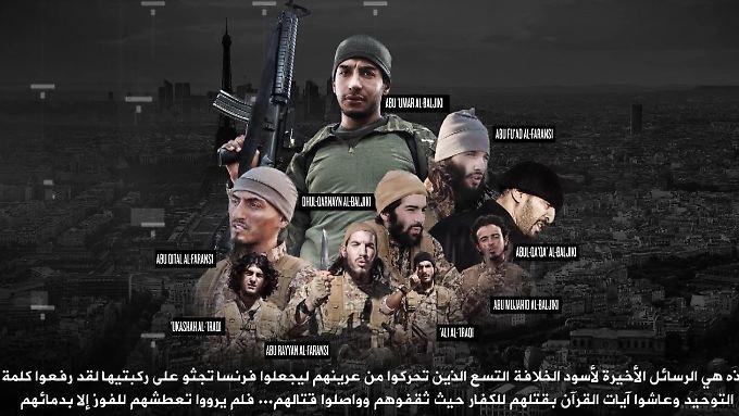 """Screenshot des IS-Videos. Die Attentäter werden darin als """"Löwen"""" bezeichnet, die Frankreich in die Knie gezwungen haben."""