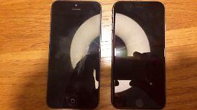 Rechts soll das iPhone 5se liegen.