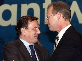 Freunde waren sie nie: Gerhard Schröder und Rudolf Scharping 1999.