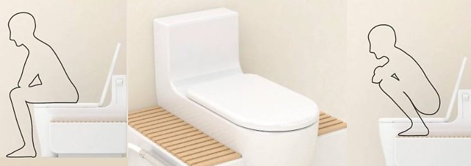 Die Toilette kann auf verschiedene Weisen benutzt werden.