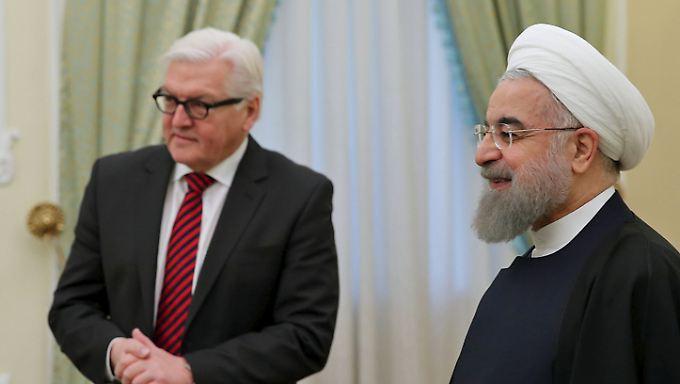 Bundesaußenminister Frank-Walter Steinmeier traf am Mittwoch in Teheran den iranischen Präsidenten Hassan Rouhani.
