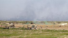 Irakische Soldaten bei einer Übung südlich von Bagdad.