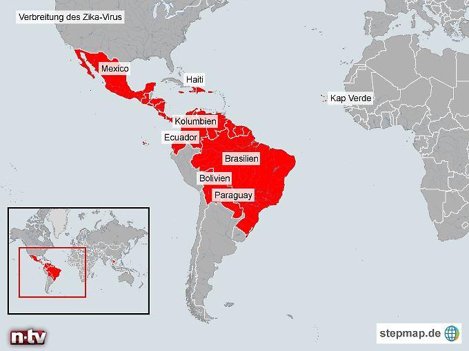 In den letzten zwei Monaten (Stand: 05.02.2016) waren vom Zika-Virus betroffen: Amerikanisch-Samoa, Barbados, Bolivien, Brasilien, Costa Rica, Curaçao, Dominikanische Republik, Ecuador, El Salvador, Französisch-Guyana, Guadeloupe, Guatemala, Guyana, Haiti, Honduras, Jamaika, Jungferninsel, Kap Verde, Kolumbien, Martinique, Mexico, Nicaragua, Panama, Paraguay, Puerto Rico, Saint Martin, Samoa, Suriname, Thailand, Venezuela, Tonga    Quelle: Europäisches Zentrum für die Prävention und die Kontrolle von Krankheiten