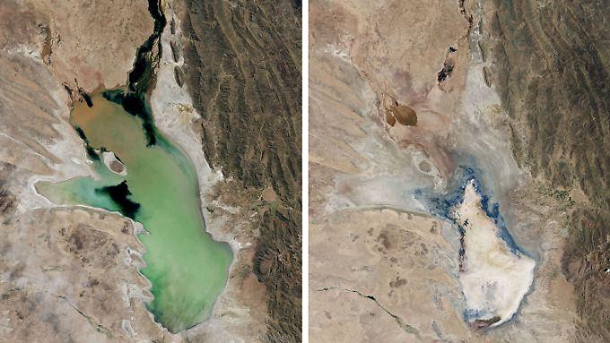 Zwischen der linken und der rechten Aufnahme des Lago Poopó liegen nur drei Jahre.